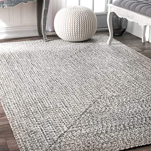 nuLOOM Lefebvre Braided Indoor/Outdoor Area Rug, 5' x 8', Light Grey