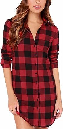 ZANZEA Camisa Mujer Blusa Camisa Cuadros Larga Camiseta ...