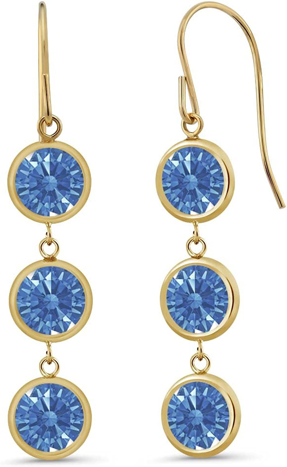 2.76 Ct Fancy bluee 14K Yellow gold Earrings Made With Swarovski Zirconia