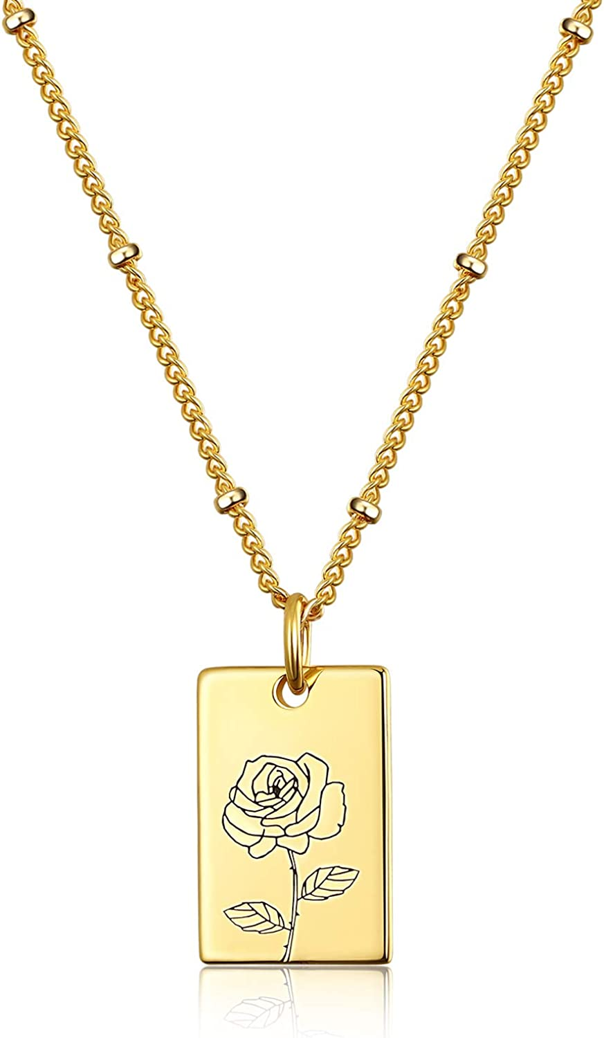 KissYan Birth Month Flower Necklace Personalized Ranking TOP20 Plate 18K Gold Memphis Mall