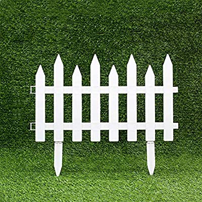 Boshen Pack of 12 Pcs Garden Picket Decorative Fence 19.7In x 11.8In/Pcs, Overall Length 19.7Ft Outdoor Garden Lawn Landscape Edging Pannels Flowerbeds Plant Plastic Borders (Style 1: Pointed Head)
