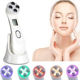 引き締め美容機器6色LEDライトモード持ち上がる肌の若返りフェイスマッサージャーRF&EMSリンクルホワイトニングスキンケア器具(ホワイト)