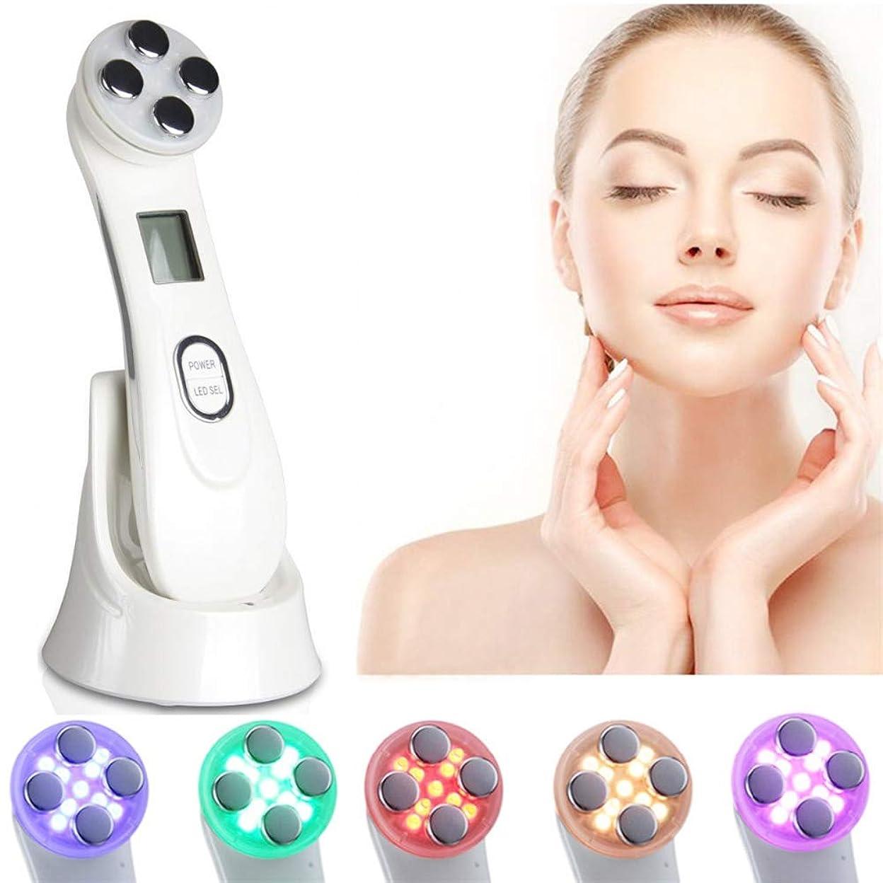 強調女性ほのめかす引き締め美容機器6色LEDライトモード持ち上がる肌の若返りフェイスマッサージャーRF&EMSリンクルホワイトニングスキンケア器具(ホワイト)