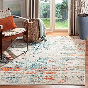 Safavieh Madison Collection MAD478B Modern Abstract Non-Shedding Stain Resistant Living Room Bedroom Area Rug, 5'3″ x 7'6″, Cream / Orange