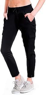 Yogipace,6 Pockets,Women's Lightweight Quick Dry Woven Hiking Travel Cargo Pants