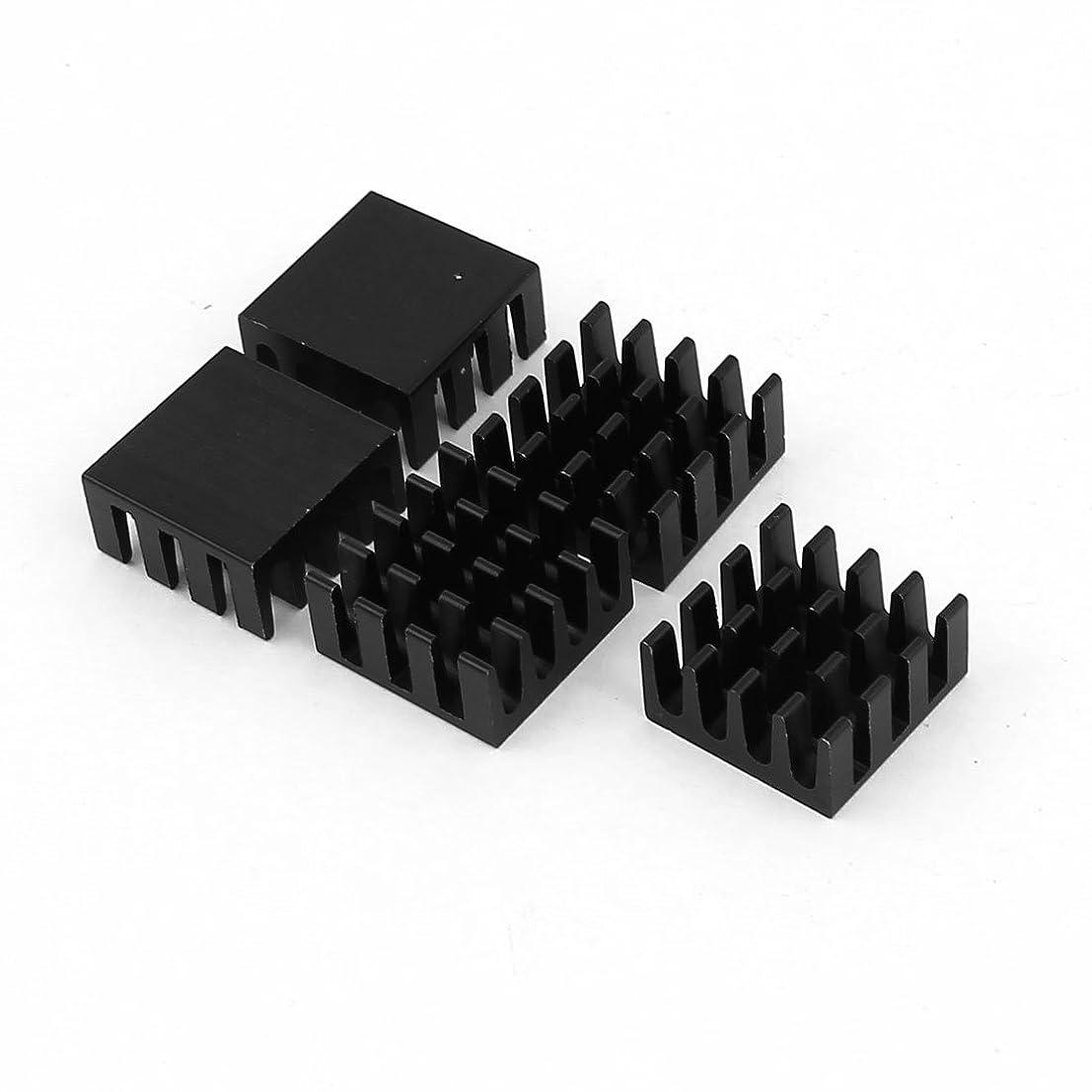 uxcell 5 Pcs Black Aluminum Radiator Heat Sink Heatsink 14x14x7mm