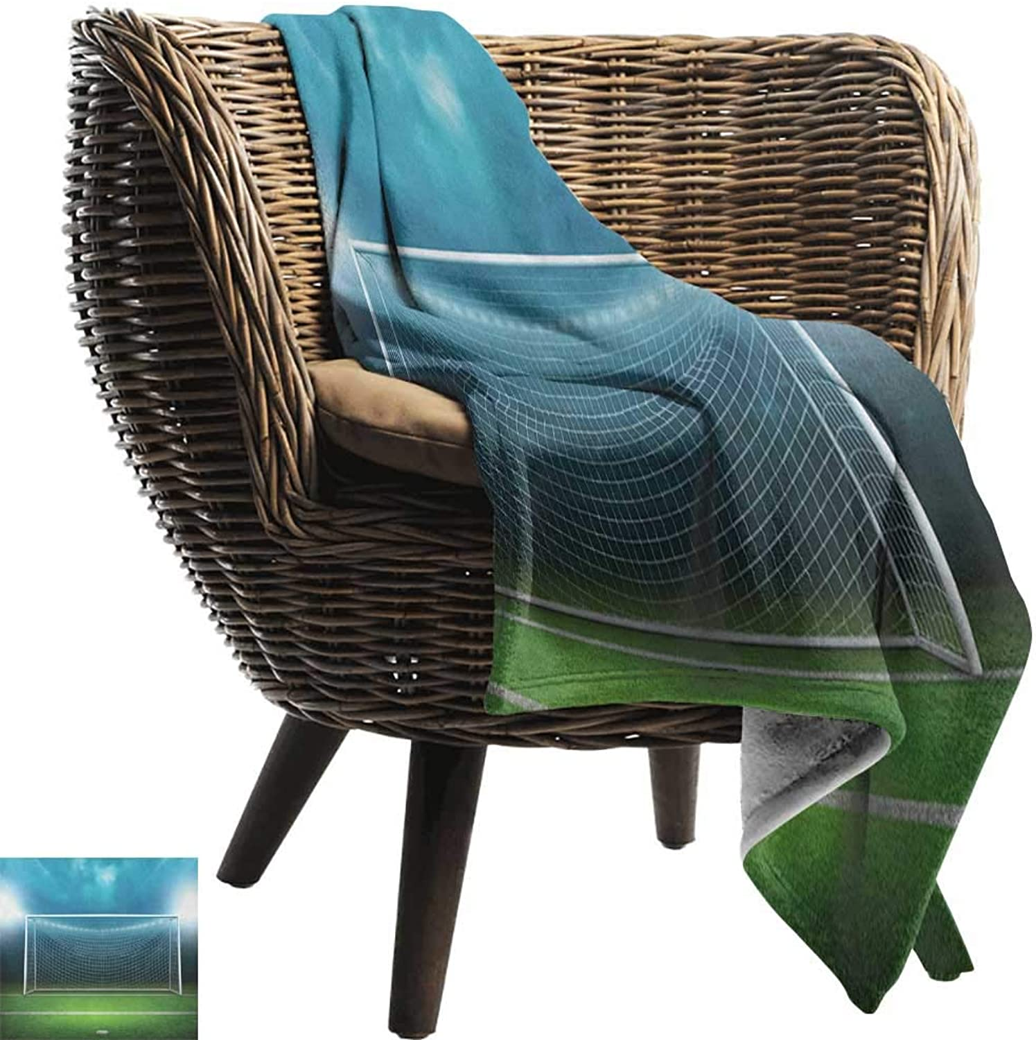 Weighted Blanket for Kids,Soccer,Soccer Goal Post Sports Area Winner Loser Line Floodlit Best Team Finals Game Theme, Green bluee,Weighted Blanket for Adults Kids, Better Deeper Sleep 50 x70