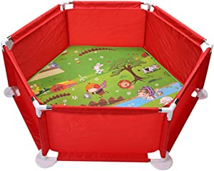 GWFVA Childs Park Toddlers Play Area Door Playpen and Baseball Box for Kids  Railing Crawling Carpet Cleaning Shatter Resistant Toy Castle Game Hall