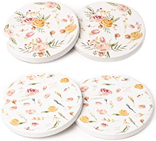 Avamie Car Coasters 4 Pack, Car Cup Holder Coasters, Absorbent Ceramic Coasters for Car 2.56 inch, Floral Design for Women...
