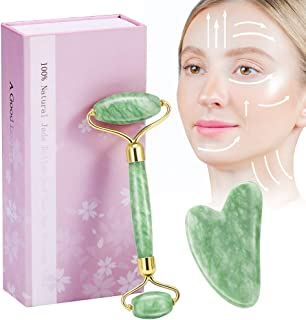 Jade Roller and Gua Sha Scraping, Face Roller Set, Aioure 3-in-1 Facial Roller Massage Tool, Anti-aging, Rejuvenate Face & Neck, Remove Wrinkles & Puffiness, 100% Original Natural Jade Stone