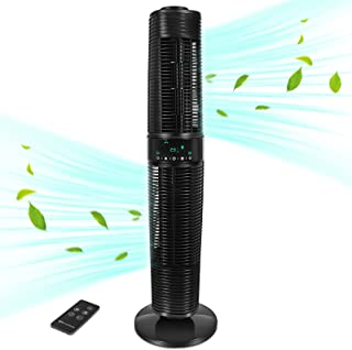 MYCARBON Ventilateur Colonne Silencieux ECO Mode Oscillant 360° Ventilateur Tour sur Pied avec Télécommande 350m³/h 45W 8H...