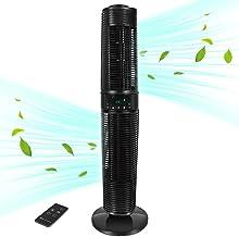 MYCARBON Torenventilator, stil, met afstandsbediening, 32 dB, luchtcirculatie, 350 m³/u, voor 30 m² eco-modi, oscillatie, ...