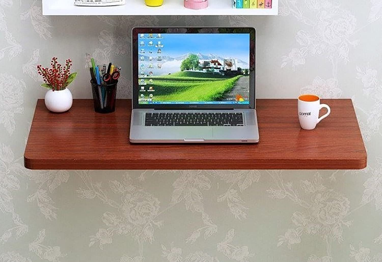 Folding Table Wall Table Dining Table Computer Table Study Desk Wall Tables Wall-Mounted Fold Desk,Teak color