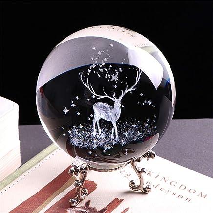 boule de m/éditation d/écorative de dragon clair Figurine Feng Shui cristal transparent boule de verre d/écoration bureau ornements statue artisanat 3D boule de cristal de dragon