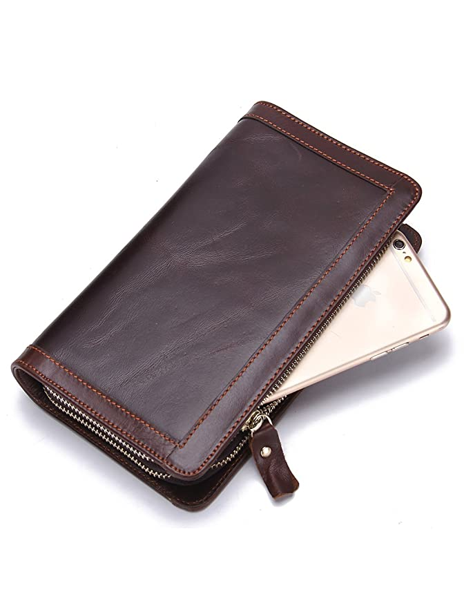 カレンダーインフルエンザメルボルンContacts Men's Genuine Leather Cowhide Clutch Bag Handbag Organizer Checkbook Wallet Card Case