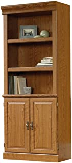 Sauder Orchard Hills 5-Shelf Library Bookcase, with Doors, Carolina Oak