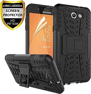 RioGree Phone Case for Samsung Galaxy J3 Luna Pro/Galaxy J3 Prime/Galaxy J3 Emerge /J3 Eclipse/J3 2017/ Amp Prime 2/Express Prime 2/Sol 2/J3 Mission, with Screen Protector Kickstand Cover Skin, Black