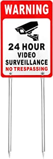 Kichwit Video Surveillance Sign No Trespassing Reflective Metal Sign, Double Sided Aluminum Yard Sign with Stakes Included, Measures 11.8