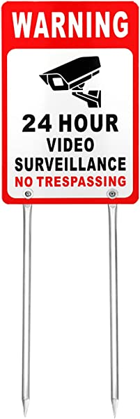 Kichwit Video Surveillance Sign No Trespassing Reflective Metal Sign Double Sided Aluminum Yard Sign With Stakes Included Measures 11 8 X 7 9