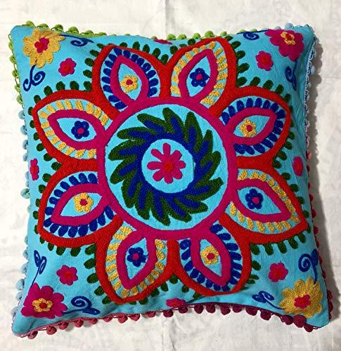 Indian Suzani - Federa per cuscino con motivo floreale, fatta a mano, per divano, stile bohémien, stile bohémien