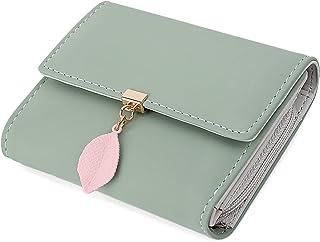 UTO Small Wallet for Women PU Leather Leaf Pendant Card Holder Organizer Girls Zipper Coin Purse