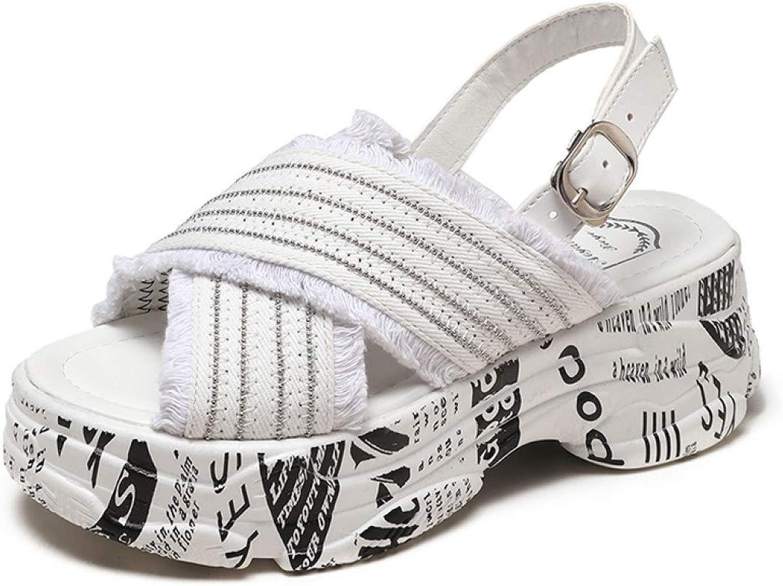 T-JULY Platform Sandals Women Wedge Heels shoes Women Buckle Denim Jean Summer Canvas Slippers Woman Sandal