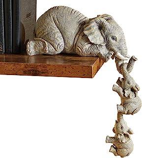 Collections Etc 象のシッター 手描きフィギュア - 3個セット 棚やテーブルの端に掛ける 母と2人の赤ちゃん