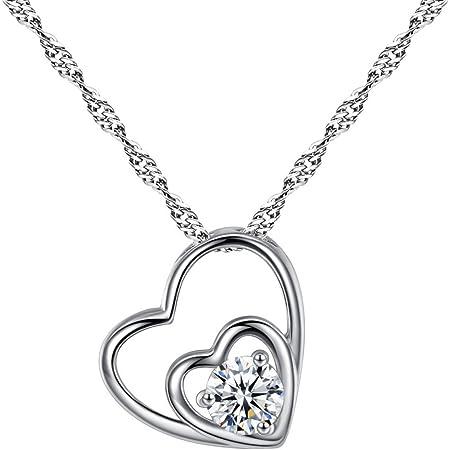YAZILIND Plateado Collar de Collar de corazón de Amor Eterno corazón romántico de Diamantes con Elementos de Zirconia cúbicos para el Regalo de joyería de día de Madres de Las Mujeres