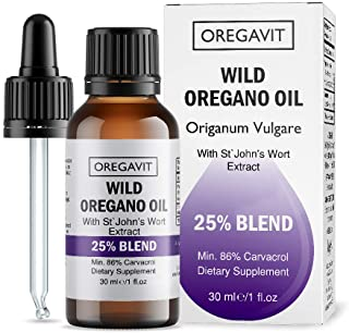Wild Oil of Oregano Blend with St. John's Wort - Extra Strength 86% Carvacrol for Digestive, Immune Support & Respiratory Health