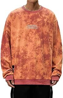 Howely Men O-Neck Plus Size Relaxed Fit Tie Dye Basic Cotton Jacket Sweatshirts
