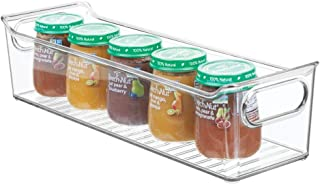 mDesign Storage Organizer Container Bin with Handles for Kids/Child Supplies in Kitchen, Pantry, Nursery, Bedroom, Playroom - Holds Snacks, Bottles, Baby Food - BPA Free, 14 Long - Clear