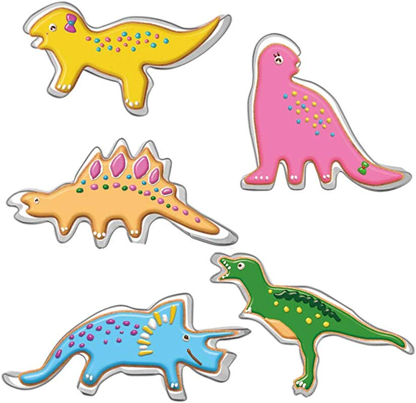 Cookie Cutters Set For Kids 5 Pcs Dinosaurs Mold Sandwich Cutter Vegetable Fruit Cutter Shapes Stainless Steel Funny DIY Mold For Kids