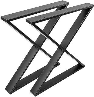 IO082 PrimeMatik Patas en acero negras de 75cm 4-pack Pies cuadrados para mesa y mueble