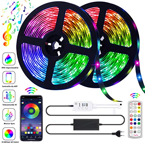 GUSODOR Striscia LED RGB 10M Strisce Luminose Luci LED Strip Lights 300LEDs SMD5050 Impermeabili + Bluetooth Controller +24 Tasti Telecomando Nastri Decorativa per Casa TV Feste [Controllato da APP]