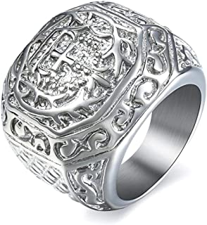 316L Stainless Steel Signet Ring for Men Boys Carved Cross Crown Silver Tone Finger Ring Gothic Cool Size 8-13