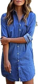 Kidsform Women's Long Sleeve Blouse Dress Denim Shirt Dresses Button Down Chambray Cotton Tops with Pockets