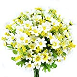 Turelifes 4 Piezas Flores Artificiales ramilletes Artificial Mini Margarita 7 Ramas 28 Cabezas Flores de Seda para Oficina casa decoración de la Boda (Blanco)