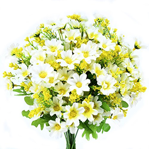Turelifes 4pcs Artificial Flowers Bouquets Fake Mini Daisy Flower 7 Branches 28 Heads Silk Floral for Office Home Wedding Decoration (White)