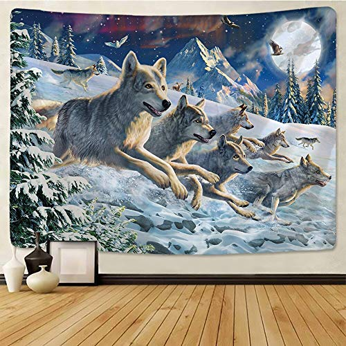 N / A Corriendo Lobo Bestia Santa Tapiz decoración Colgante de Pared león Lobo Tigre patrón de Fondo Tapiz de Pared Textiles para el hogar Tapiz de Tela de Fondo A1 150x200cm