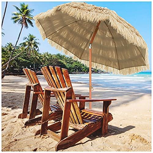 Homfure Sombrilla De Playa con Toldo Parasol De Paja De Rafia 7.4 Pies,sombrilla Tiki, Sombrilla Sunbrella para Patio, Jardín, Sombrilla para Exteriores, Decoración, Sombrilla para Patio