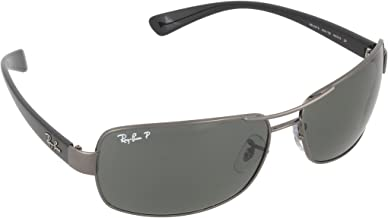 RAY-BAN RB3379 Rectangular Sunglasses, Gunmetal/Polarized Green, 64 mm