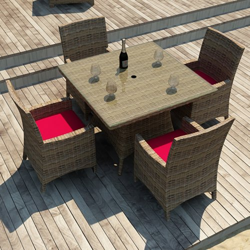 Hot Sale Forever Patio Cypress 5 Piece Modern Patio Square Dining Set with Red Sunbrella Cushions (SKU FP-CYP-5SQDN-HR-FB)