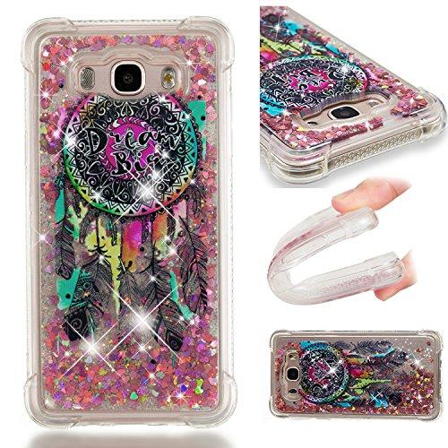 HopMore Compatible con Funda Samsung Galaxy J7 2016/2015 Silicona 3D Glitter Liquido Brillante Purpurina Transparente Carcasa Resistente Case Cover Antigolpes para Mujer Niña - Atrapasueños