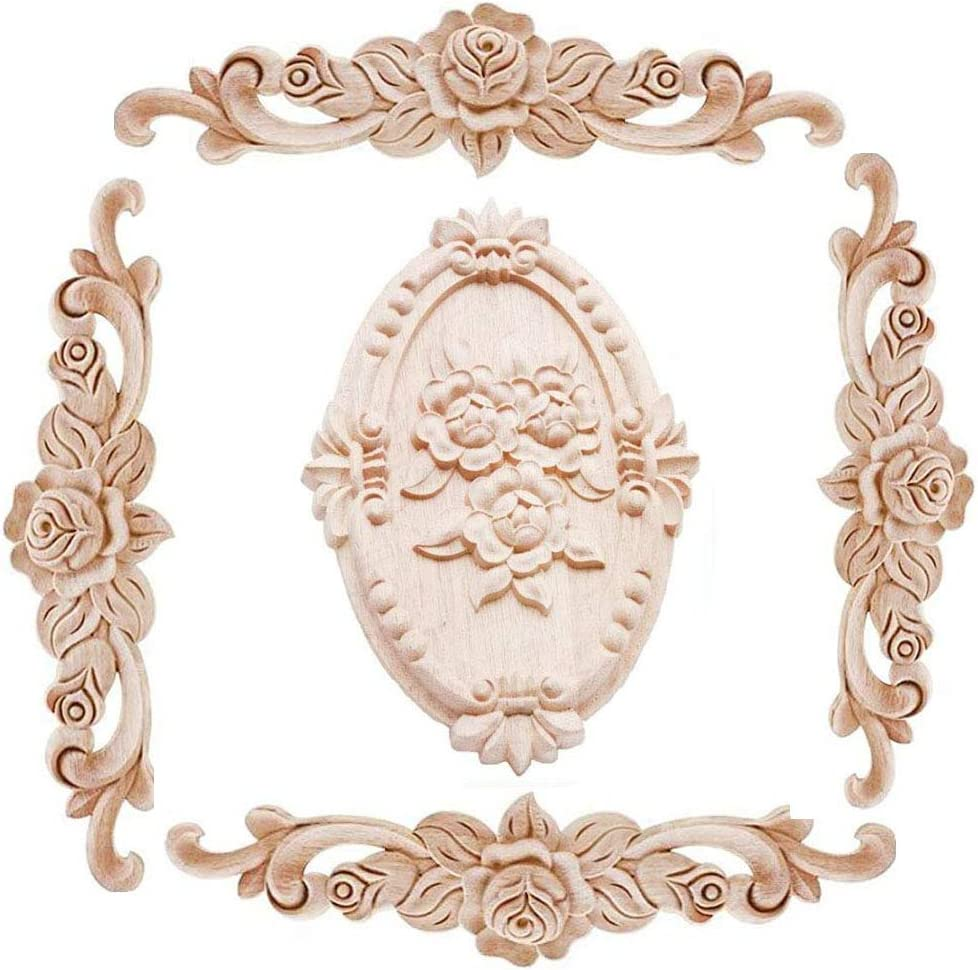 Beoot Wood Carved Applique Onlay Unpainted Corner Onlay Applique Door Cabinet Rose Unpainted European Style (20x5cm/7.87x1.97inch)