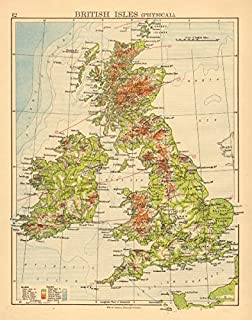 BRITISH ISLES RELIEF. Showing isotherms in January & July. JOHNSTON - 1897 - old map - antique map - vintage map - British Isles map s