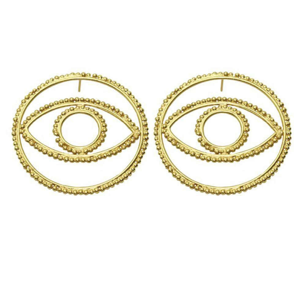 Doubnine Metallic Geometric Evil Eyes Gold Statement Earrings Large Studs for Women Halloween Fashion