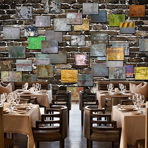 Papel pintado personalizado retro nostálgico ladrillo pared cemento bar restaurante cafetería fondo mural mural mural mural mural de pared 400 W × 280 H cm