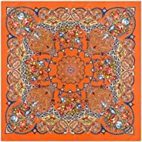 jiao 100%シルクスカーフ女性スクエアスカーフラップ幾何学的な花バンダナ女性フラールシルクヒジャーブレディブファンダスオレンジ