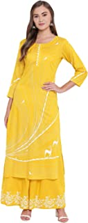 Bi Amma Women's Yellow Printed Straight Fit Kurta And Flared Printed Palazzo Set