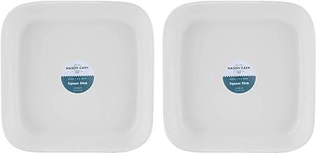 Mason Cash Apta para Microondas Duradero de Gres Lineal Cuadrado Plato 24cm Blanco (Paquete De 2) - Blanco